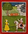 19th century Janam sakhi, Lahore, Guru Nanak sleeping under tree and cobra shade with cows watching.jpg