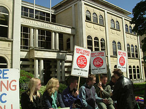 Picketing - Employees of the BBC form a picket line during a strike in May 2005.