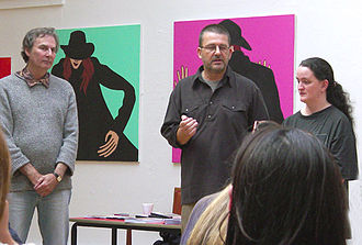 Stuckism in Australia - Left to right: Godfrey Blow, Odysseus Yakoumakis and Jacqueline Jones at The Triumph of Stuckism show and symposium, Liverpool Biennial 2006.