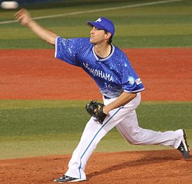 20130803 Tim Corcoran, pitcher of the Yokohama DeNA BayStars, at Yokohama Stadium.JPG
