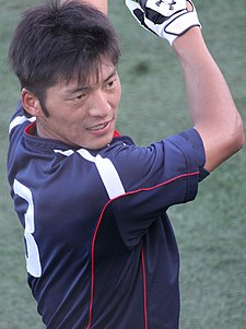 20140817 Naomichi Nisiura, infielder of the Tokyo Yakult Swallows, at Yokosuka Stadium.JPG