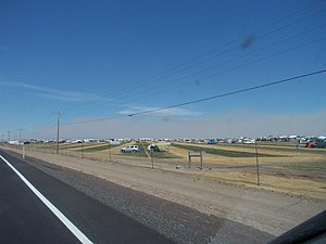 Solar eclipse of August 21, 2017 - Campers on a field near Madras, Oregon, three days before the eclipse