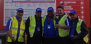 Melbourne Grand Prix Circuit - MSS Security guards at the 2017 Melbourne F1 GP Maurice Novoa Ruiz with his Tongan crew