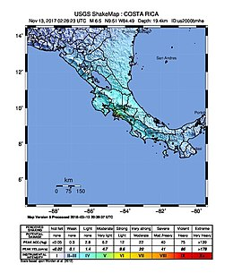 2017 Costa Rica earthquake intensity map.jpg