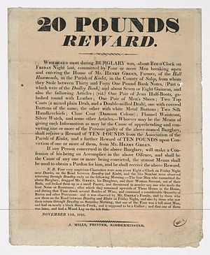 Bounty (reward) - £20 reward offered for information in Kidderminster house burglary, 1816.