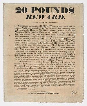 Thief-taker - £20 reward offered for information in Kidderminster house burglary, 1816.