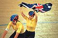 231000 - Cycling track Tania Modra Sarnya Parker Australian flag 2 - 3b - 2000 Sydney race photo.jpg
