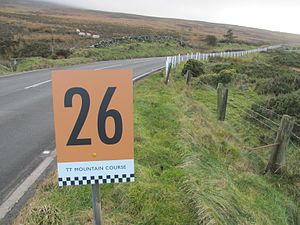 26th Milestone, Isle of Man - Joey's at the 26th Milestone on the A18 Snaefell Mountain Course looking towards Guthrie's Memorial
