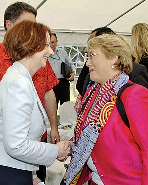 Australia–Chile relations - Former Australian Prime Minister Julia Gillard with Chilean President Michelle Bachelet in 2012