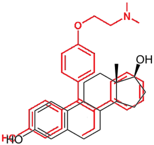 Selective estrogen receptor modulator - Figure 5: 4-hydroxytamoxifen (red) overlaid with 17β-estradiol (black)