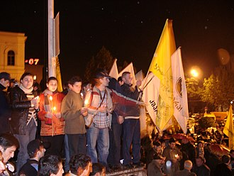 Kmara - Young Georgians holding the Kmara flags during the Rose Revolution in November 2003