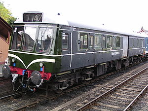 British Rail Class 127 - Class 127, no. 55976 at Bewdley on 15 October 2004. This vehicle was rebuilt as a parcels unit from 51625 (seen above), with the addition of roller-shutter doors. Now preserved at the Midland Railway – Butterley, it is being rebuilt back to a passenger vehicle.
