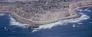 The wreck of SS Dominator in 1965