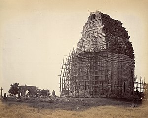 Teli ka Mandir - Image: 8th or 9th century ruined Teli ka Mandir under restoration in Gwalior fort, Madhya Pradesh, 1882 photo