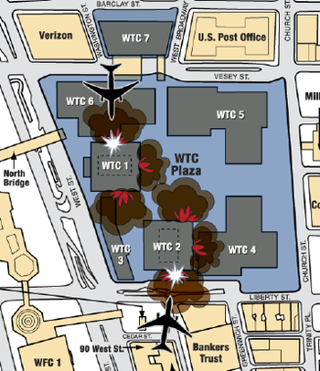 English: Graphic. WTC impacts, Sept 11, 2001.