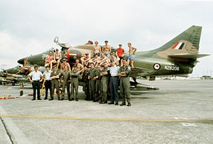 Red Flag – Alaska - Members of No. 75 Squadron RNZAF with one of the unit's A-4K Skyhawks in the Philippines during Cope Thunder in 1982
