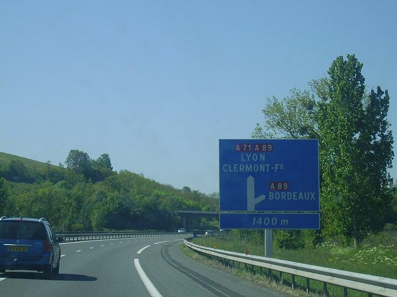 Annonce Bifurcation A 71 - A 89 direction Clermont-Ferrand