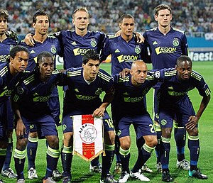 Eyong Enoh - Enoh (bottom right) with Ajax teammates in 2010.