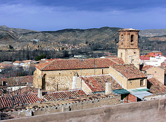 Aguilar del Río Alhama - Church of the Assumption (16th Century) and Sierra del Tormo.