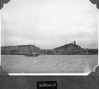 Holt's Wharf - Historic view of Tsim Sha Tsui, with Holt's Wharf on the left and Blackhead Point and Signal Hill Tower on the right.