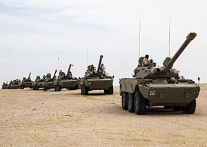 AMX 10 RC - Qatari AMX-10RCs in the desert during multinational combined-arms exercises, 2013