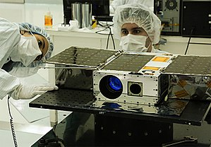 ASTERIA (spacecraft) - ASTERIA during testing. It is a 6U CubeSat space telescope for the detection of exoplanets