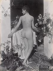 A Sicilian boy, posing naked outdoors, by a door Wellcome L0034523.jpg