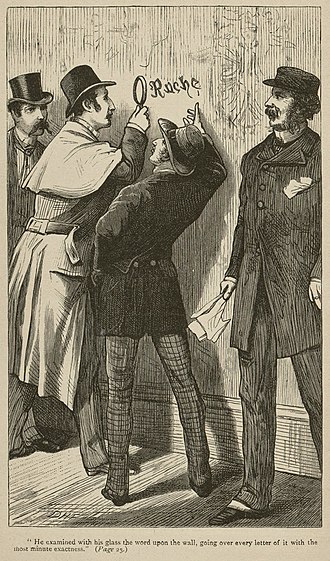 A Study in Scarlet - Original illustration of Holmes with magnifying glass, by David Henry Friston. Left to right: Watson, Holmes, Lestrade, Gregson