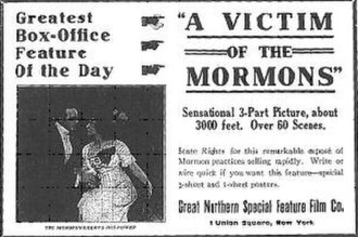 A Victim of the Mormons - Sensational ad that appeared in the American trade paper The Moving Picture World (February 10, 1912).