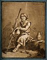 A blind beggar holds out his hat for money. Coloured mezzoti Wellcome V0015888.jpg