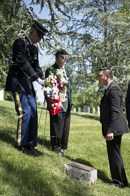 Ceremony honoring Hmong and Lao combat veterans and their American advisors at the memorial tree and plaque in Arlington National Cemetery (May 15, 2015) A ceremony honoring Hmong and Lao combat veterans at the memorial tree and plaque in Arlington National Cemetery (17068944794).jpg