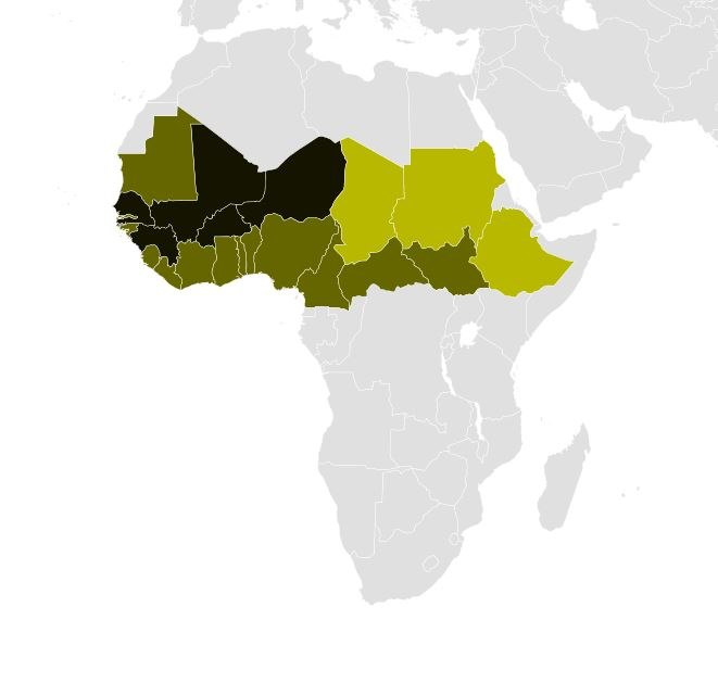 A distribution map of Fula people in Africa