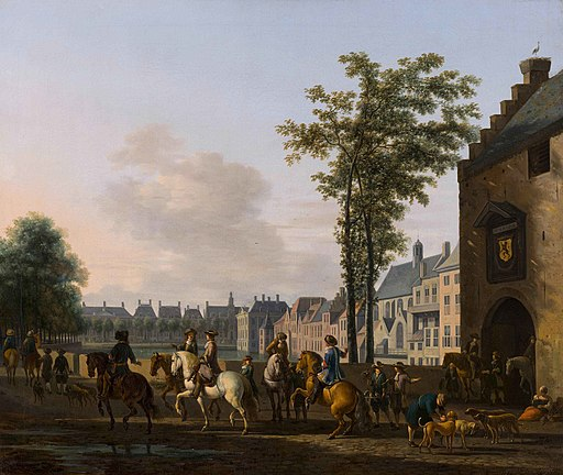 A hunting-party near the Hofvijver in The Hague, viewed from the Plaats, by -Gerrit Berckheyde