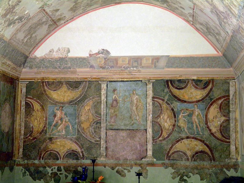Файл:A richly decorated triclinium (officer's dining room), the most complete Roman wall-painting of all the limes, found in the Limes fort at Echzell, Saalburg Roman Fort, Limes Germanicus, Germania (Germany) (7957563350).jpg