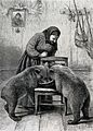 A woman feeding two bear cubs from a large bowl on a chair. Wellcome V0022916.jpg