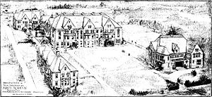 Architectural plan - Sketch of proposed buildings and grounds of the Abbot Academy in Andover Massachusetts, 1829