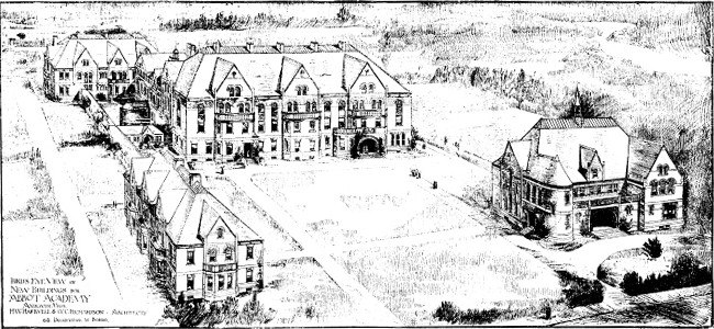 Abbot Academy proposed sketch 1829 buildings and grounds Andover Massachusetts
