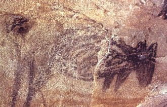 Charcoal drawing of kangaroos in Heathcote National Park. AboriginalSite0008.jpg