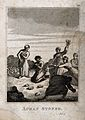 Achan is stoned to death for stealing the spoils of the fall Wellcome V0034289.jpg