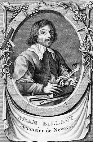 Edme Bovinet - Portrait of French carpenter and poet Adam Billaut (1602-1662), engraving from 1790.