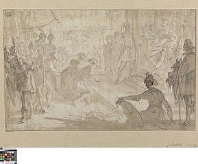 Admiraal Jacopo Inghirami brengt gevangen Saracenen voor Ferdinand I van Toscane