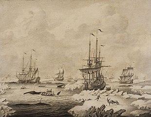 Penschilderij in grijstonen, met walvisvaarders in bedrijf