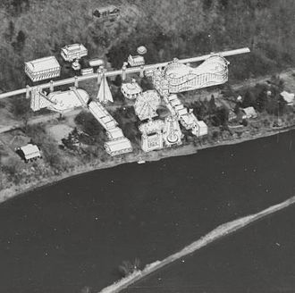 Luna Park, Schenectady - Aerial view of Rexford, NY showing the location of the Luna Park amusement park