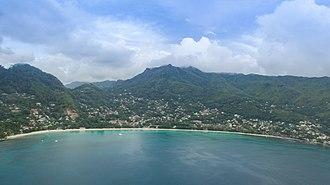 Mahé, Seychelles - Image: Aerial of Beau Vallon Mahe, Seychelles (38911468714)