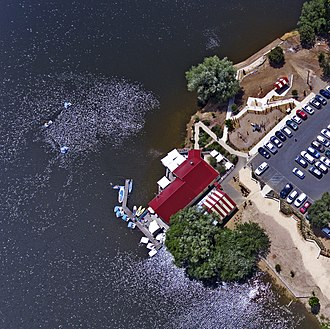 Daylesford, Victoria - Aerial perspective of Daylesford Boathouse