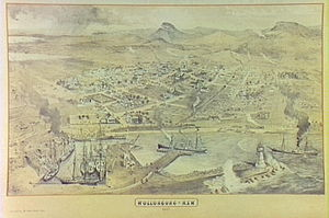 "Wollongong - Wollongong N.S.W. 1887; Aerial view of Wollongong Harbour. From the ""Illustrated Sydney News"" of 15 October 1887."