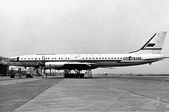 Japan Airlines - A Tupolev Tu-114 in Aeroflot/JAL livery, used between Japan and Moscow