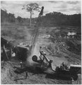 Africa. Cameroons. Here the log is being picked up by the Orton crane to be swung to the conveyor belt, part of which... - NARA - 541642.tif