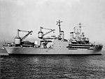Aft view of USS Curtiss (AV-4) off San Francisco on 2 January 1952 (7577280).jpg