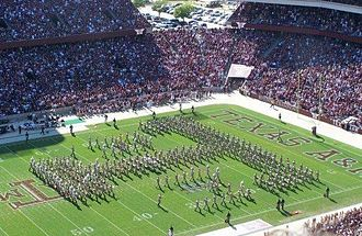 "Fightin' Texas Aggie Band - ""ATM"" formation during halftime at Kyle Field, a variation of the ""Block T"" created by Dunn"